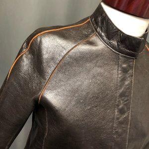 Anne Klein chocolate brown leather jacket coat